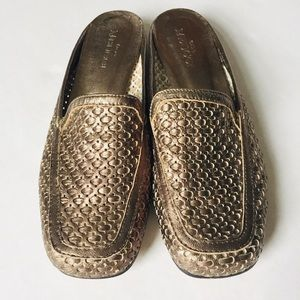 Sesto Meucci Metallic Leather Slides Mules 7.5